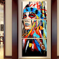 3 pieces native american feathered women modern home wall