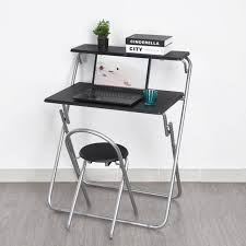 Fold Away Computer Desk Black Folding Desk Computer Pc Laptop Table Chair Set Home Office