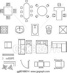eps vector furniture linear vector symbols floor plan icons set