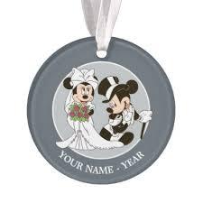 mickey minnie wedding silhouette ornament zazzle
