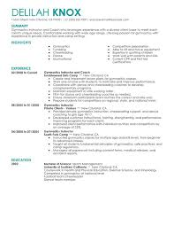 Examples Of Resumes For Teenagers by Unforgettable Gymnastics Instructor Resume Examples To Stand Out