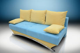 BED YORK FAUX SUEDE TURQUOISEYELLOW - York sofa bed