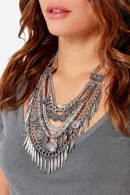 long silver statement necklace images Pretty silver necklace statement necklace collar necklace 28 00 jpg