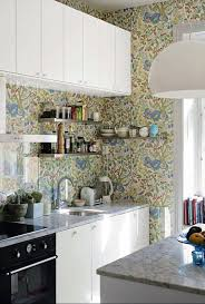 washable wallpaper for kitchen backsplash 35 ideas of using creative wallpapers on a kitchen shelterness