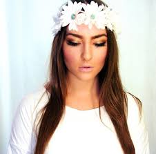 white flower headband turquoise gem embellished flower crown headband boho
