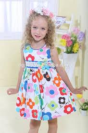 2015 latest design kids casual dresses flower pattern children