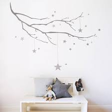 birds on a wire wall stickers star kids bright stars and wall winter branch with stars fabric wall sticker