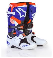 blue dirt bike boots alpinestars tech 10 le indianapolis boots revzilla