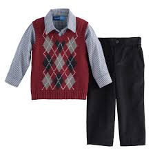boy great argyle sweater vest shirt set