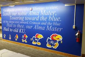 vinyl wall murals digital printed stickers graphics sign up lawrence sign up this custom ku fight song wall mural for the university of kansas