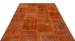 Antique Indian Rugs K0021856 Orange Over Dyed Turkish Patchwork Rug Kilim Rugs