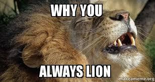 Lion Meme - why you always lion make a meme