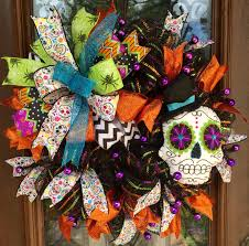 sugar skull day of the dead halloween wreath www facebook com