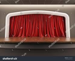 Velvet Curtain Club 3d Illustration Blank Template Layout Empty Stock Illustration