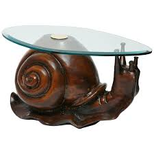carved wood end table carved wood snail sculpture table by federico armijo at 1stdibs