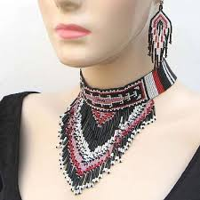 beaded choker necklace images Native crafts wholesale pink black yei beaded choker necklace jpg