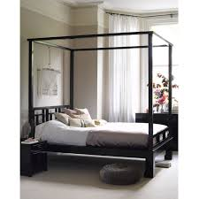 Four Poster Canopy Bed Frame Black Stained Wooden King Size Four Poster Canopy Bed Frame With