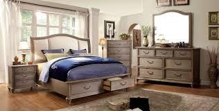King Size Bedroom Set With Storage Belgrade I Rustic Natural Tone Upholstered Platform Storage
