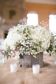 rustic wooden all white flowers wedding centerpiece deer pearl