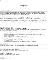 Profile Examples For Resume by Personal Profile Sample Writing For Resume Receptionist Resume