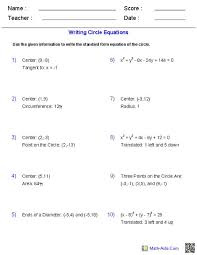 circle equation worksheet worksheets