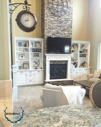 Open Concept Living Room by Great Room Living Room Family Room Fireplace Rock Mantle Fireplace