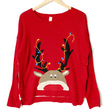 lightweight hi lo peeping rudolph tacky ugly christmas sweater