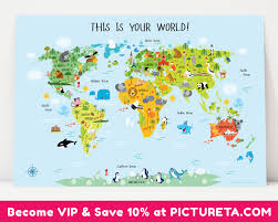 Usa World Map by Unique Baby Gift Childrens World Map Poster Nursery Decor