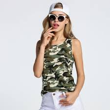 army pattern clothes fanala women t shirts camouflage slim army print clothes sleeveless