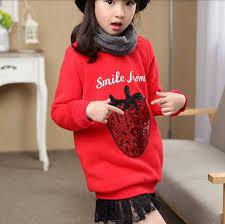 sequin strawberry lace sweatshirt dress for kids fleece pullover