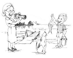 boy catches a fish with dog coloring page activities pictures