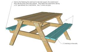 Plans For Picnic Table Bench Combo by Ana White Preschool Picnic Table Diy Projects