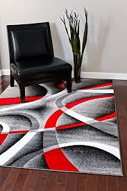 Black White Rugs Modern 2305 Gray Black White Swirls 6 5 X 9 2 Modern