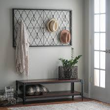 Grey Entryway Table by Belham Living Trenton Indoor Bench With Quatrefoil Iron Wall