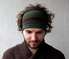 guys headbands knitted mens headband guys knit hair wrap green brown adults