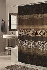 safari animal print faux fur trim border shower curtain with liner