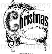 and white vintage christmas clipart