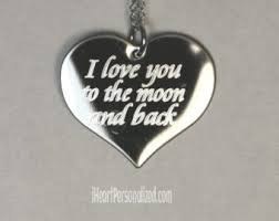 I Love You To The Moon And Back Personalized Necklace Engraved Moon Etsy