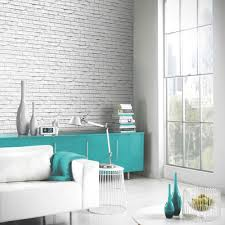 turquoise stone wallpaper arthouse vip white brick wall photographic stone wallpaper 623004