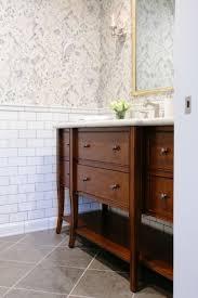 Best White Bathroom With Wood Or Dark Vanity Images On - Dark wood bathroom cabinets