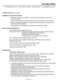 Sample Resume Format Resume Template by Resume Sample For An Esl Teacher Susan Ireland Resumes