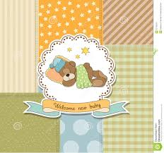 teddy bear baby shower invitations lovely baby shower card with teddy bear stock illustration image