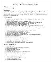 sample assistant manager job description 9 examples in pdf