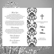 wedding program catholic catholic church wedding program damask black white wedding