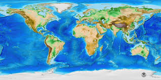 World Map Image by Etopo1 Global Relief Ncei