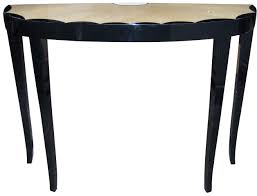 small demilune entry console table painted with black color for