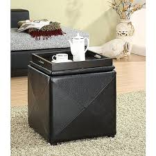 Leather Cube Ottoman Black Leather Storage Ottomans Faux Leather Storage Boxes In Brown