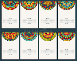set of 8 cards with mexican ornaments stock vector image 53577711