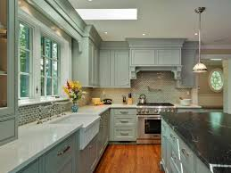 Kitchen Cabinets Lights by Blue And Greyish Green Painted Kitchen Cabinets Light Brown Dining