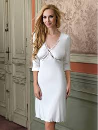 vanilla 3 4 length sleeves embroidered lace u0026 satin nightdress